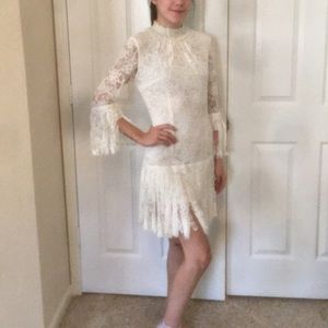 Alexis white lace fringed dress